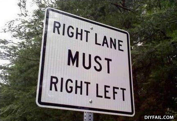 - Right lane must fail right