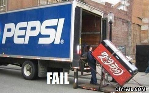 - THEREZ A POPSI MACHINE WUTH THE COKE TRUCK